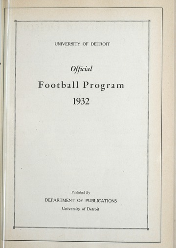 University of Detroit Football Collection: University of Detroit vs. Georgetown University Program